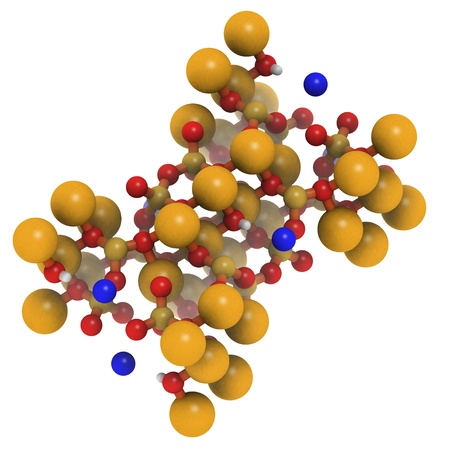 fibrous: Crystal structure of actinolite asbestos. The fibrous form of this mineral is a type of asbestos, used in insulation and roofing building materials and notoriously hazardous. color coding: large gold - iron (Fe); small gold - silicon (Si); blue - sodium (