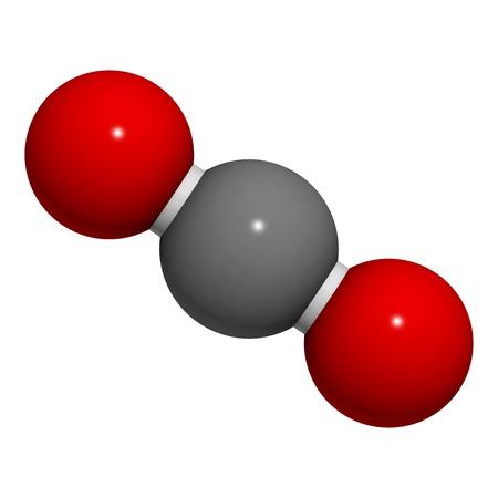 Chemische structuur van een molecule van kooldioxide (CO2).