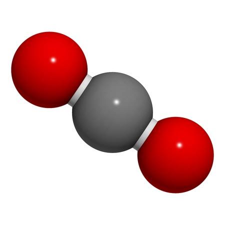 dioxido de carbono: Estructura qu�mica de una mol�cula de di�xido de carbono (CO2). Foto de archivo