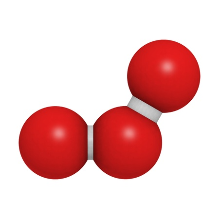 ozone: Chemical structure of a molecule of ozone (trioxygen, O3). Stock Photo