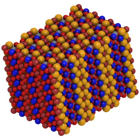 mesothelioma: Crystal structure of Riebeckite. Crocidolite or blue asbestos is the fibrous form of this mineral and is believed to be the most hazardous type of asbestos. color coding: large gold - iron (Fe); gray - silicon (Si) aluminium (Al); blue - sodium (Na); red Stock Photo