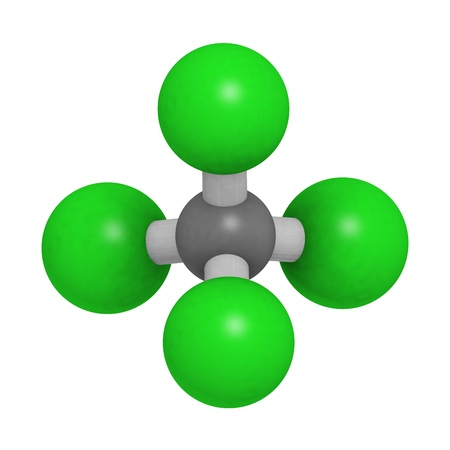 necrosis: Carbon tetrachloride (CCl4, carbon tet) molecule, chemical structure. CCl4 has been used in fire extinguishers, for dry cleaning and in refrigerants.
