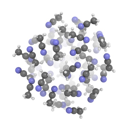 methyl: Acetonitrile (CH3CN, ACN) molecules, liquid sphere model. CH3CN is a commonly used solvent.