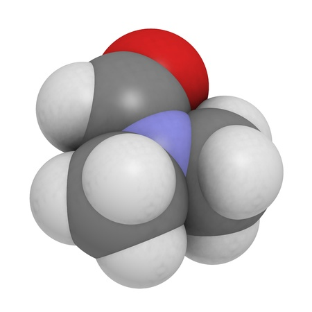 amide: dimethylformamide (DMF) molecule, chemical structure. DMF is a commonly used solvent in chemistry.