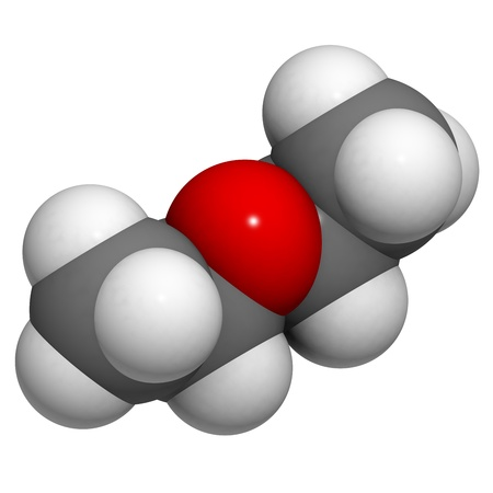 volatile: Diethylether (ether, ethoxyethane, Et2O) molecule, chemical structure. Ethyl ether is a highly volatile and flammable organic solvent.