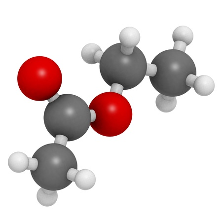 contributes: Ethyl acetate (EtOAc) molecule, chemical structure. This organic solvent is often found in nail polish remover but also in wine, where it contributes to the fruitiness of wine. Stock Photo