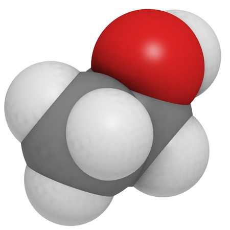 ethanol: Ethanol (EtOH, ethyl alcohol) molecule, chemical structure. Ethanol is the main psychoactive component of many beverages, including beer and wine.