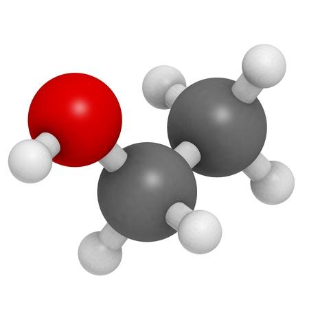 Etanol (EtOH, alcohol etílico) molécula, la estructura química. El etanol es el principal componente psicoactivo de muchas bebidas, incluyendo cerveza y vino.