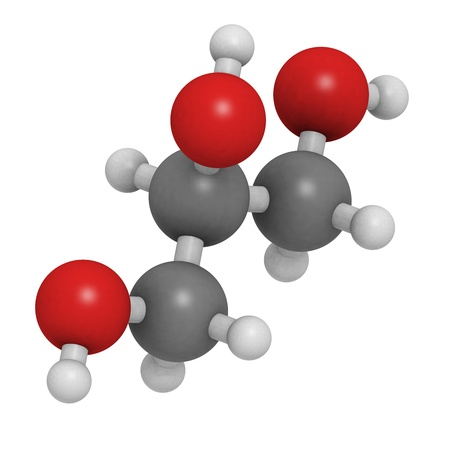Glycerol (glycerine) molecule, chemical structure. Together with fatty acids, glycerol forms triglycerides.