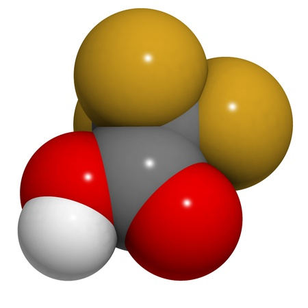 corrosive: Trifluoroacetic acid (TFA) molecule, chemical structure. TFA is a highly corrosive liquid acid that is often used as a solvent or reagent in chemistry.