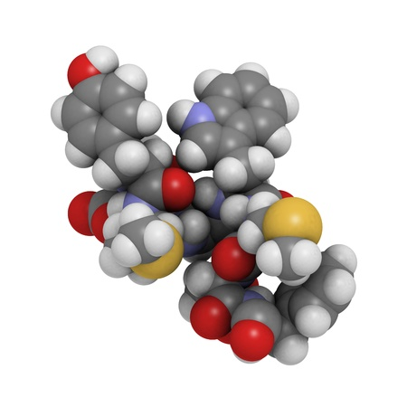 peptide: Chemical structure of the Cholecystokinin-8 (CCK8) peptide molecule. Cholecystokinin is a peptide hormone that stimulates the digestion of fat and proteins. Stock Photo