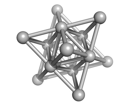 Silver metal (Ag), crystal structure. Unit cell.