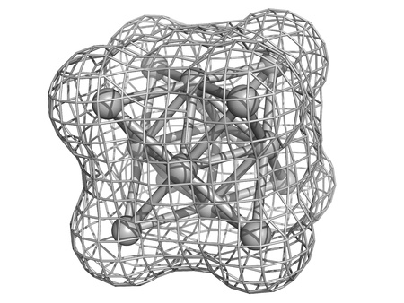 ag: Silver metal (Ag), crystal structure.  Unit cell.