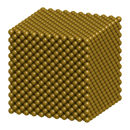 gold standard: Gold (Au) metal, crystal structure.