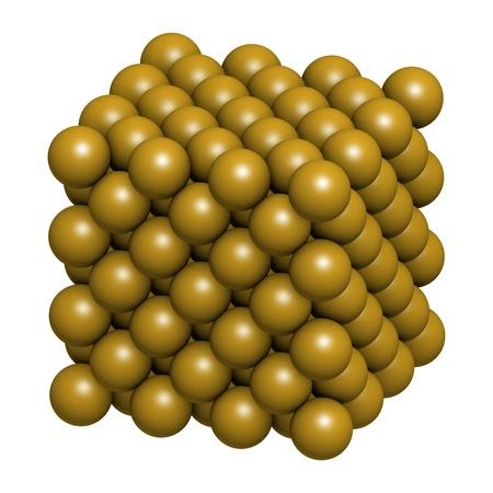 Goud (Au) metaal, kristalstructuur.