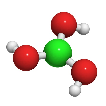 antiseptic: Boric acid molecule, chemical structure. Boric acid acts as an antiseptic, insecticide and flame retardant.