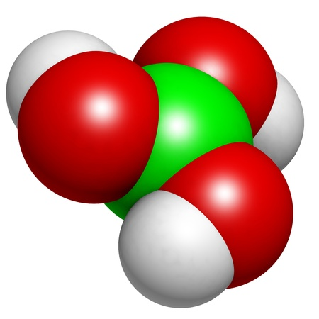 retardant: Molecola di acido borico, struttura chimica. L'acido borico agisce come antisettico, insetticida e ritardanti di fiamma.