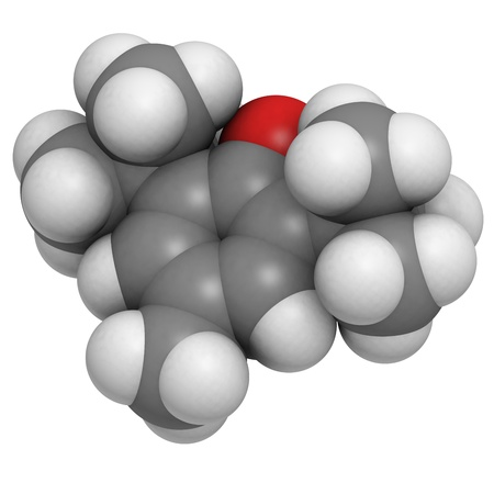 radicals: Butylated hydroxytoluene (BHT) molecule, chemical structure. BHT is a widely used antioxidant chemical in food.