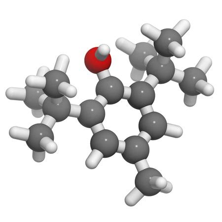 Butylhydroxytolueen (BHT) molecule, chemische structuur. BHT is een veel gebruikte antioxidant chemische in food. Stockfoto