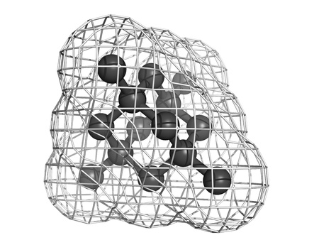 Diamond crystal structure. Unit cell. Unbound atoms omitted. Stock fotó