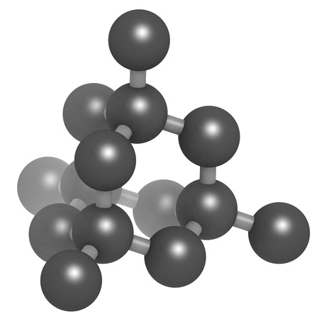allotrope: Diamond crystal structure. Unit cell. Unbound atoms omitted. Stock Photo
