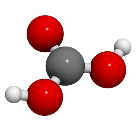soft drinks: Carbonic acid (H2CO3) molecule, chemical structure. Carbonic acid is found in carbonated soft drinks.