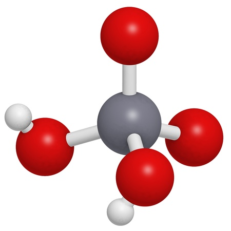 Chromic acid  (H2CrO4) molecule, chemical structure. Chromic acid is a highly corrosive oxidising agent and is used for cleaning glass and contains the highly toxic and carcinogenic hexavalent chromium. Stock Photo - 17236542
