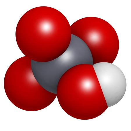 Chromic acid  (H2CrO4) molecule, chemical structure. Chromic acid is a highly corrosive oxidising agent and is used for cleaning glass and contains the highly toxic and carcinogenic hexavalent chromium. Stock Photo