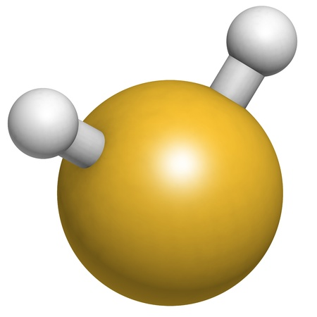 sulfide: Hydrogen sulfide (H2S) molecule, chemical structure. H2S is a toxic gas with the odor of rotting eggs.