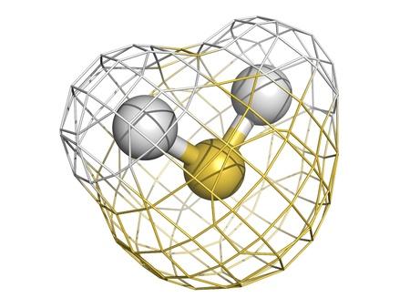 hidrogeno: El sulfuro de hidr�geno (H2S), mol�cula, estructura qu�mica. El H2S es un gas t�xico con olor a huevos podridos. Foto de archivo