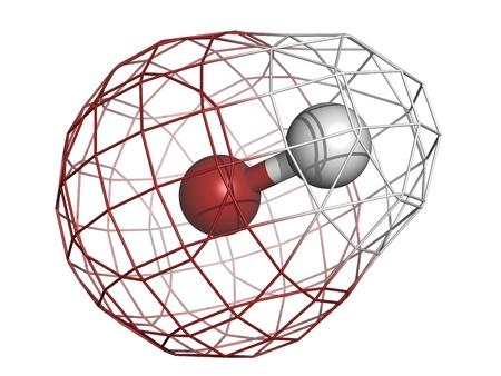 inorganic: Hydrogen bromide (HBr) molecule, chemical structure. Hydrogen bromide is a strong inorganic acid.