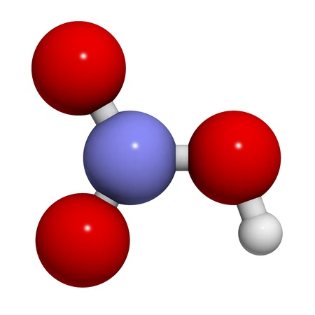 nitrate: Nitric acid (HNO3) molecule, chemical structure. HNO3 is a strong and corrosive inorganic acid. Stock Photo