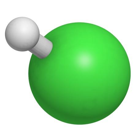 wasserstoff: Chlorwasserstoff (HCl)-Molekül, die chemische Struktur. HCl ist eine stark ätzende Mineralsäure und die Säure-Komponente von Magensaft. Lizenzfreie Bilder