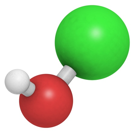 bactericidal: Hypochlorous acid (HClO) molecule, chemical structure. Salts of hypochlorous acid are used in bleach, disinfectant and deodorant products.