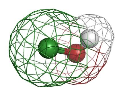 bactericidal: �cido hipocloroso (HClO) mol�cula, la estructura qu�mica. Sales del �cido hipocloroso se utilizan en productos lej�a, desinfectante y desodorante. Foto de archivo