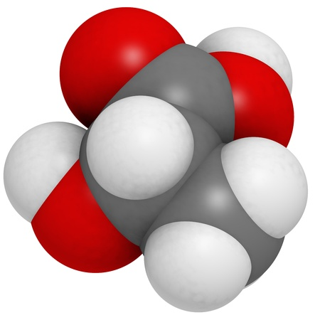 acidosis: Lactic acid (milk acid, L-lactic acid) molecule, chemical structure. Lactic acid is a chiral molecule and thus has two optical isomers.