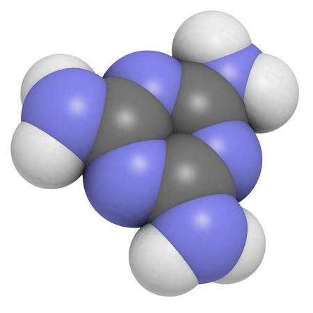 retardant: Melamina molecola, struttura chimica. Melamina � stata utilizzata per il latte e adulterazione delle materie prime. Archivio Fotografico