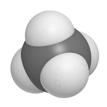 Methane (CH4) gas molecule, chemical structure. Methane is the main component of natural gas. photo