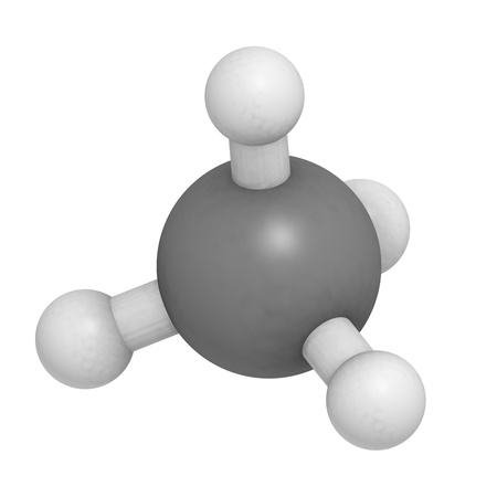 methyl: Methane (CH4) gas molecule, chemical structure. Methane is the main component of natural gas.