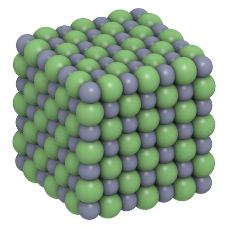 salt crystal: Sodium chloride (NaCl, table salt), crystal structure