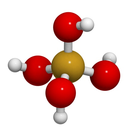 believed: Silicic acid molecule, chemical structure. Silicic acid supplements are believed to have beneficial health effects. Stock Photo