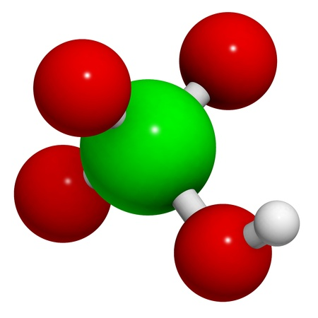 inorganic: Perchloric acid (HClO4) molecule, chemical structure. HClO4 is a strong inorganic acid and oxidizer.
