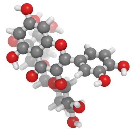 believed: Rutin (rutoside, sophorin) molecule, chemical structure. Rutin is believed to have positive effects on health.