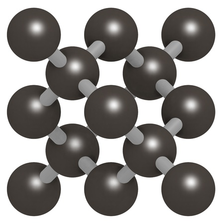 monocrystalline: Pure silicon (Si, silicium), crystal structure. Si is the main building material of computer chips. Unbound atoms omitted. Stock Photo