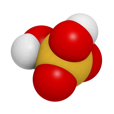 acid rain: Sulfuric acid (H2SO4, oil of vitriol) molecule, chemical structure. H2SO4 is a highly corrosive strong mineral acid. It is used as an electrolyte in lead-acid car batteries.