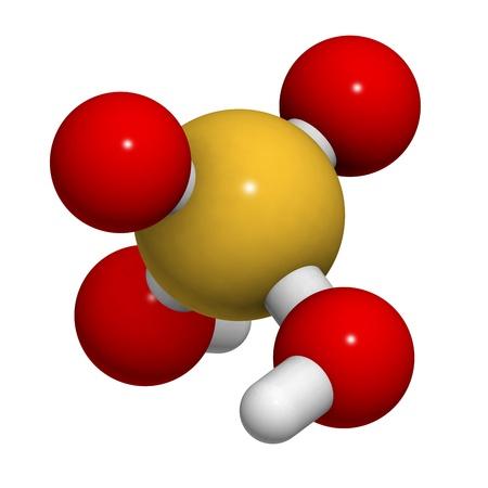 lluvia acida: Mol�cula de �cido sulf�rico (H2SO4, aceite de vitriolo), la estructura qu�mica. H2SO4 es un �cido fuerte mineral altamente corrosivo. Se utiliza como electrolito en bater�as de coche de plomo-�cido. Foto de archivo