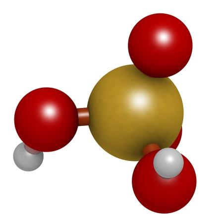 Sulfuric acid (H2SO4, oil of vitriol) molecule, chemical structure. H2SO4 is a highly corrosive strong mineral acid. It is used as an electrolyte in lead-acid car batteries.