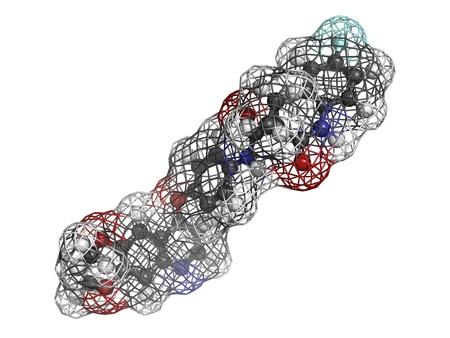 kinase: Cabozantinib cancer drug, molecular model. Cabozantinib is a tyrosine kinase inhibitor drug that is used in cancer treatment. Stock Photo