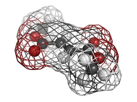 sclerosis: Dimethylfumarate (DMF) multiple sclerosis drug, molecular model. Dimethylfumarate is used for multiple applications, including multiple sclerosis and psoriasis treatment. Stock Photo