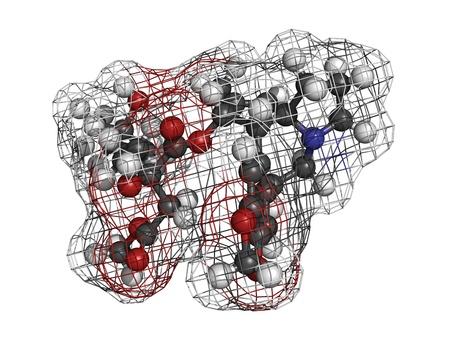 leucemia: Omacetaxina mepesuccinate medicamento para la leucemia, el modelo molecular. Este f�rmaco inhibe la s�ntesis de prote�nas y se utiliza en el tratamiento de la leucemia miel�gena cr�nica (LMC)